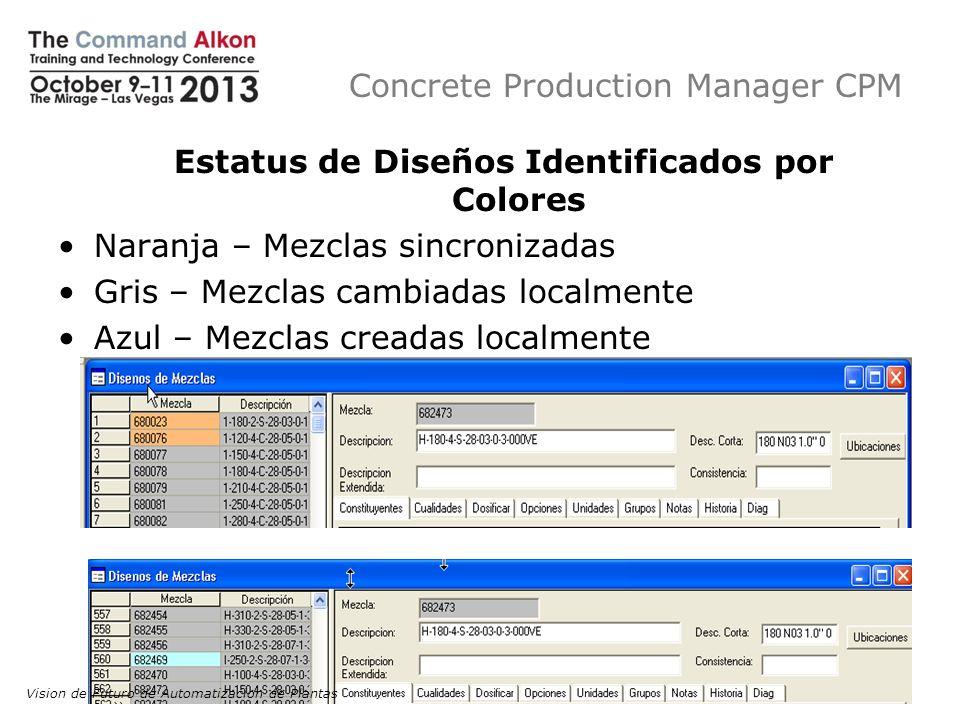 Concrete Production Manager CPM Estatus de Diseños Identificados por Colores Naranja – Mezclas sincronizadas Gris – Mezclas cambiadas localmente Azul