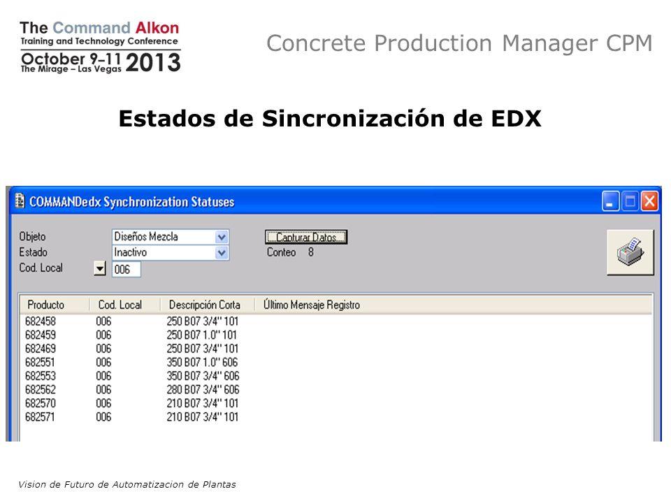 Concrete Production Manager CPM Estados de Sincronización de EDX Vision de Futuro de Automatizacion de Plantas