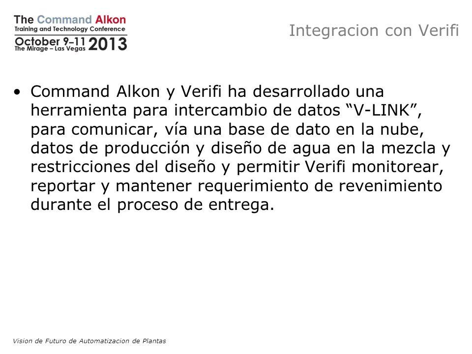 Integracion con Verifi Command Alkon y Verifi ha desarrollado una herramienta para intercambio de datos V-LINK, para comunicar, vía una base de dato e