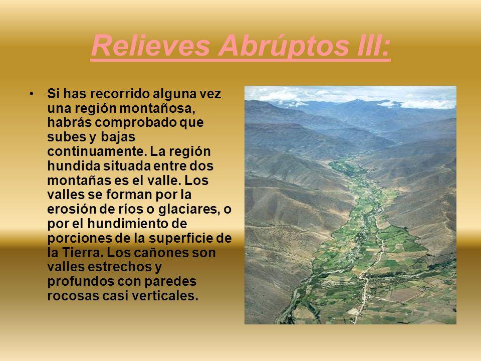 Relieves Abrúptos III: Si has recorrido alguna vez una región montañosa, habrás comprobado que subes y bajas continuamente. La región hundida situada