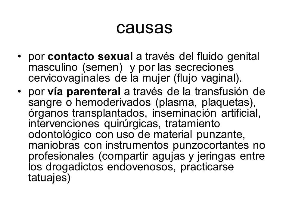 causas por contacto sexual a través del fluido genital masculino (semen) y por las secreciones cervicovaginales de la mujer (flujo vaginal). por vía p