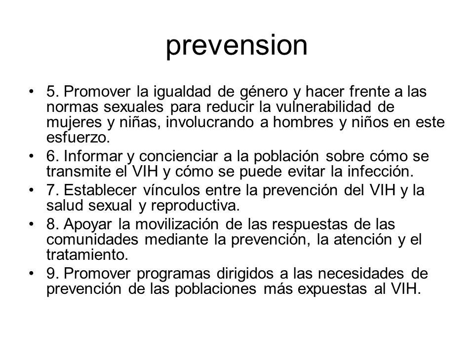 prevension 5. Promover la igualdad de género y hacer frente a las normas sexuales para reducir la vulnerabilidad de mujeres y niñas, involucrando a ho