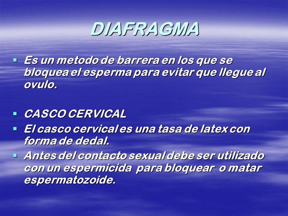DIAFRAGMA Es un metodo de barrera en los que se bloquea el esperma para evitar que llegue al ovulo. Es un metodo de barrera en los que se bloquea el e