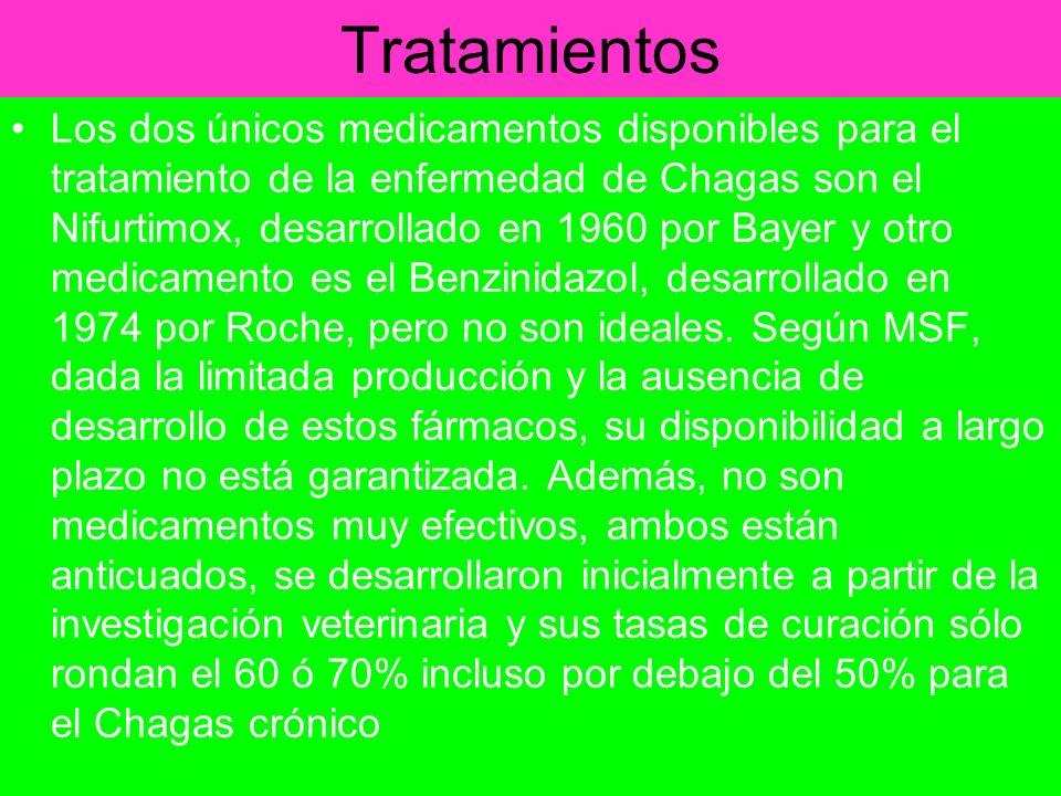 Tratamientos Los dos únicos medicamentos disponibles para el tratamiento de la enfermedad de Chagas son el Nifurtimox, desarrollado en 1960 por Bayer