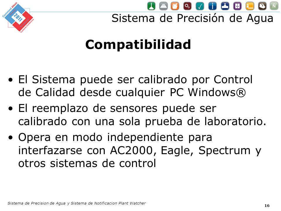 Sistema de Precisión de Agua Compatibilidad El Sistema puede ser calibrado por Control de Calidad desde cualquier PC Windows® El reemplazo de sensores