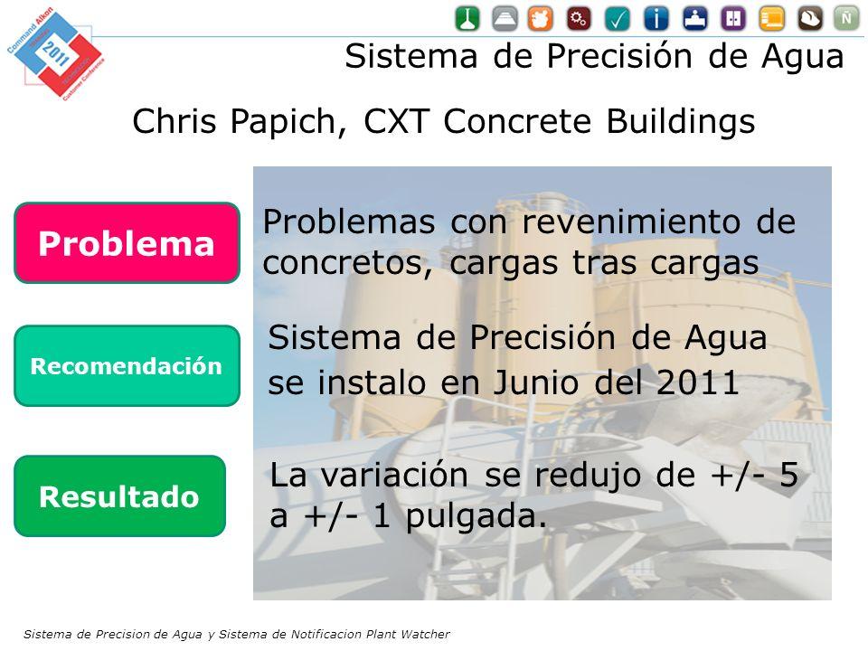 Problemas con revenimiento de concretos, cargas tras cargas La variación se redujo de +/- 5 a +/- 1 pulgada. Problema Recomendación Resultado Sistema