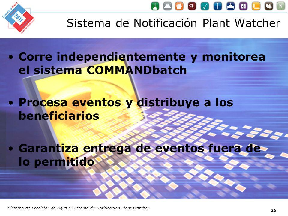 Sistema de Notificación Plant Watcher Corre independientemente y monitorea el sistema COMMANDbatch Procesa eventos y distribuye a los beneficiarios Ga