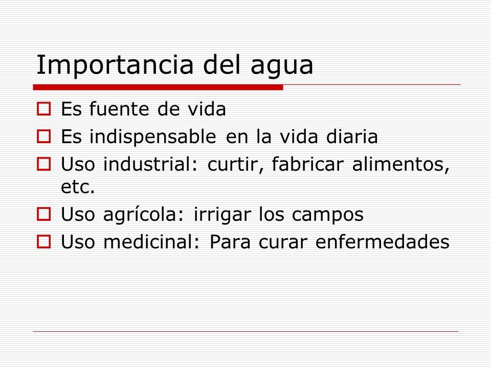 Importancia del agua Es fuente de vida Es indispensable en la vida diaria Uso industrial: curtir, fabricar alimentos, etc. Uso agrícola: irrigar los c