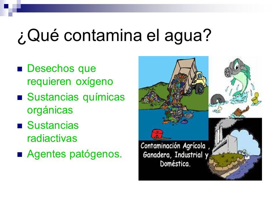 ¿Qué contamina el agua? Desechos que requieren oxígeno Sustancias químicas orgánicas Sustancias radiactivas Agentes patógenos.