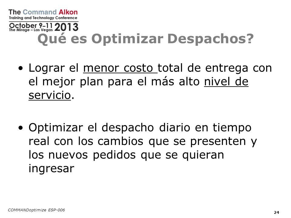 Qué es Optimizar Despachos? Lograr el menor costo total de entrega con el mejor plan para el más alto nivel de servicio. Optimizar el despacho diario