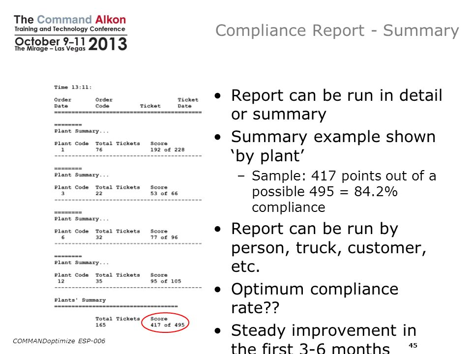 Compliance Report - Summary Report can be run in detail or summary Summary example shown by plant –Sample: 417 points out of a possible 495 = 84.2% co