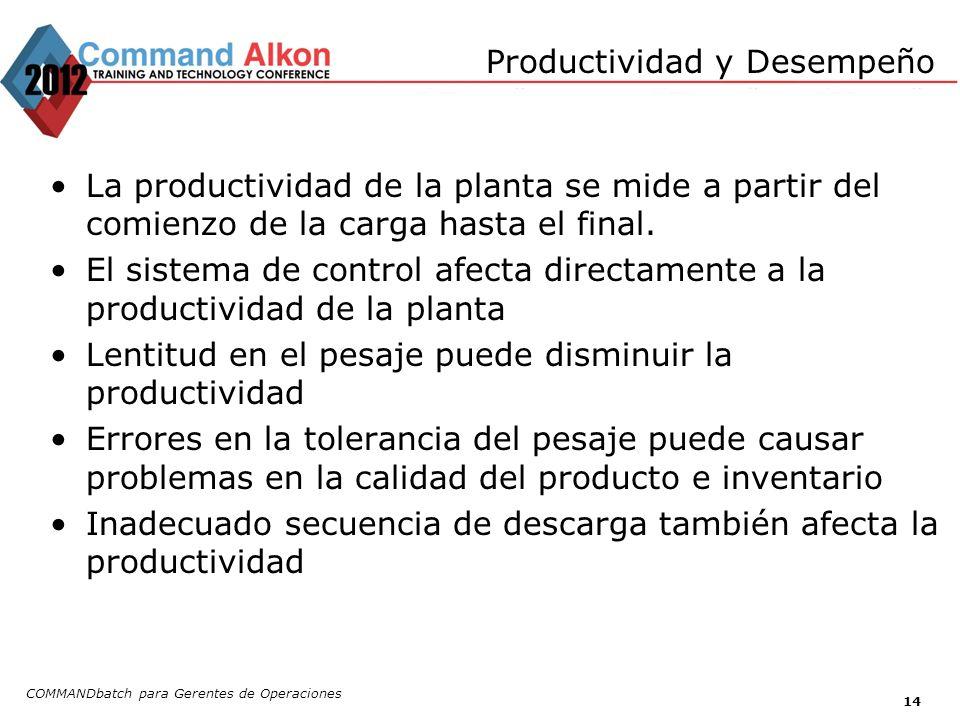 Productividad y Desempeño COMMANDbatch para Gerentes de Operaciones 14 La productividad de la planta se mide a partir del comienzo de la carga hasta e