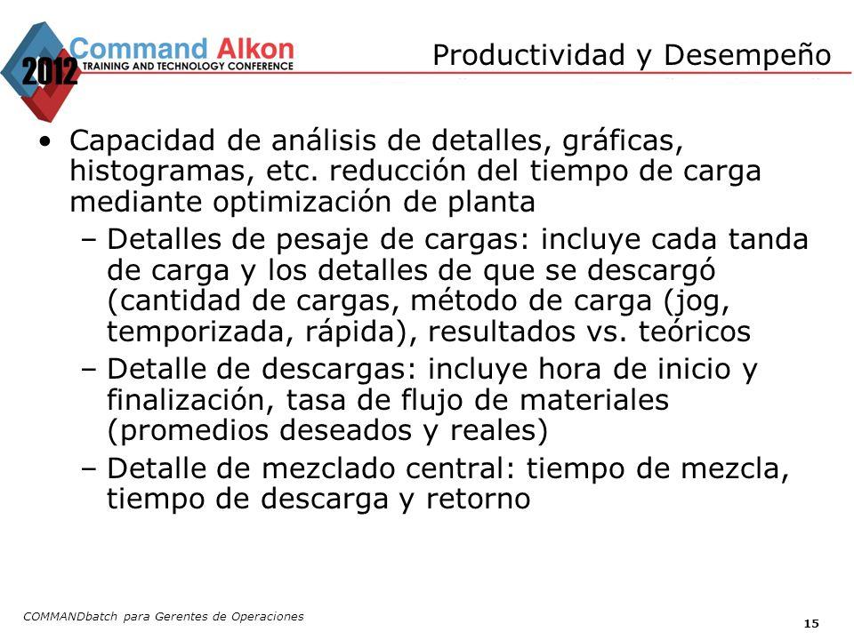 Productividad y Desempeño COMMANDbatch para Gerentes de Operaciones 15 Capacidad de análisis de detalles, gráficas, histogramas, etc. reducción del ti