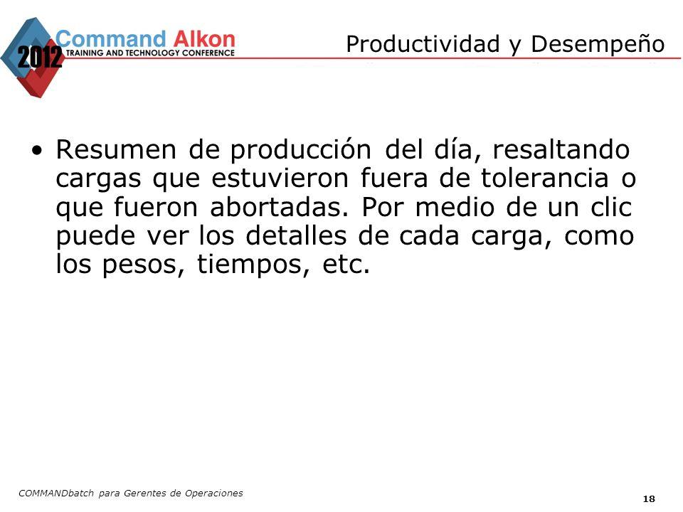 Productividad y Desempeño COMMANDbatch para Gerentes de Operaciones 18 Resumen de producción del día, resaltando cargas que estuvieron fuera de tolera