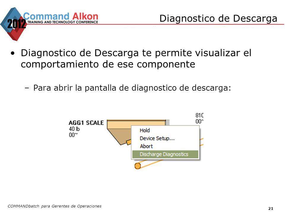 Diagnostico de Descarga Diagnostico de Descarga te permite visualizar el comportamiento de ese componente –Para abrir la pantalla de diagnostico de de