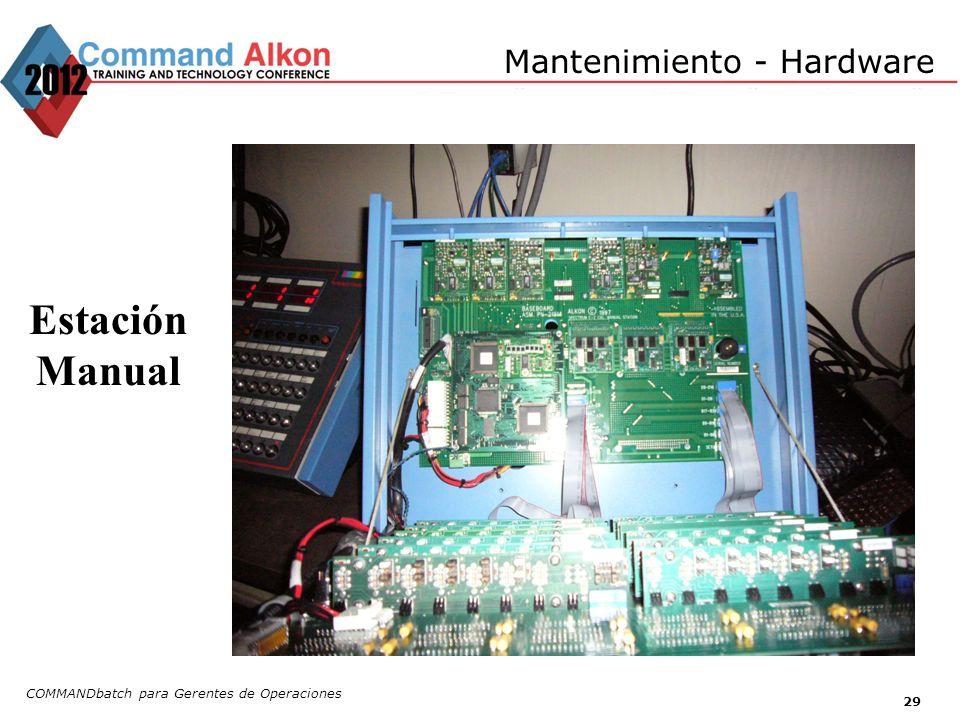 Mantenimiento - Hardware COMMANDbatch para Gerentes de Operaciones 29 Estación Manual