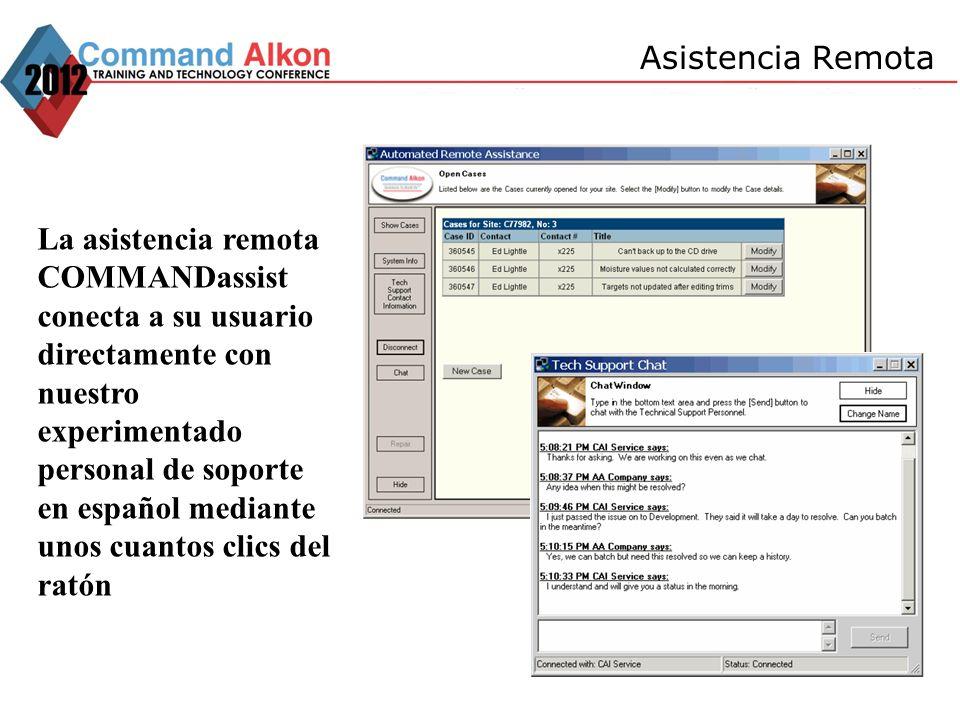 La asistencia remota COMMANDassist conecta a su usuario directamente con nuestro experimentado personal de soporte en español mediante unos cuantos cl