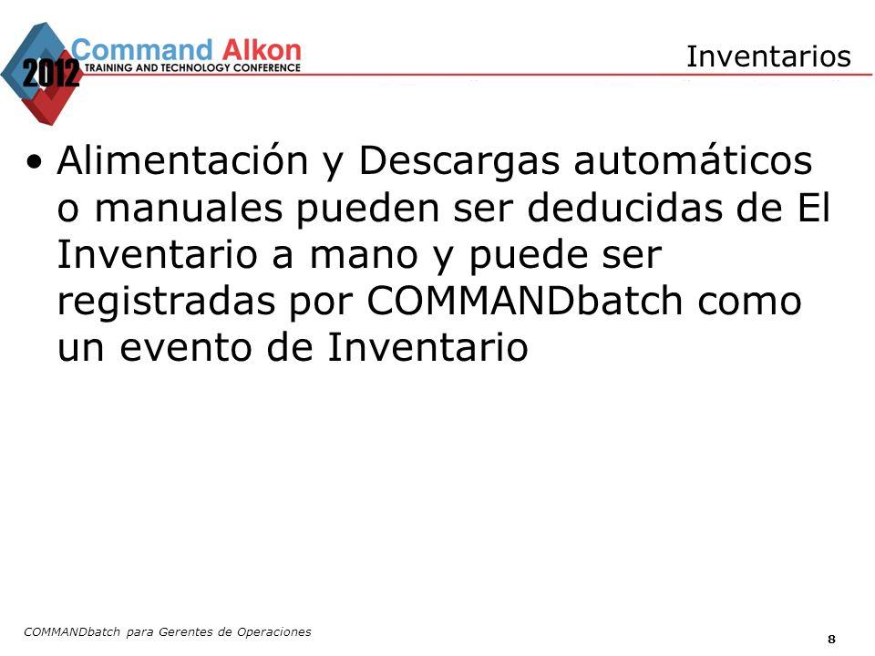 COMMANDbatch para Gerentes de Operaciones 8 Inventarios Alimentación y Descargas automáticos o manuales pueden ser deducidas de El Inventario a mano y