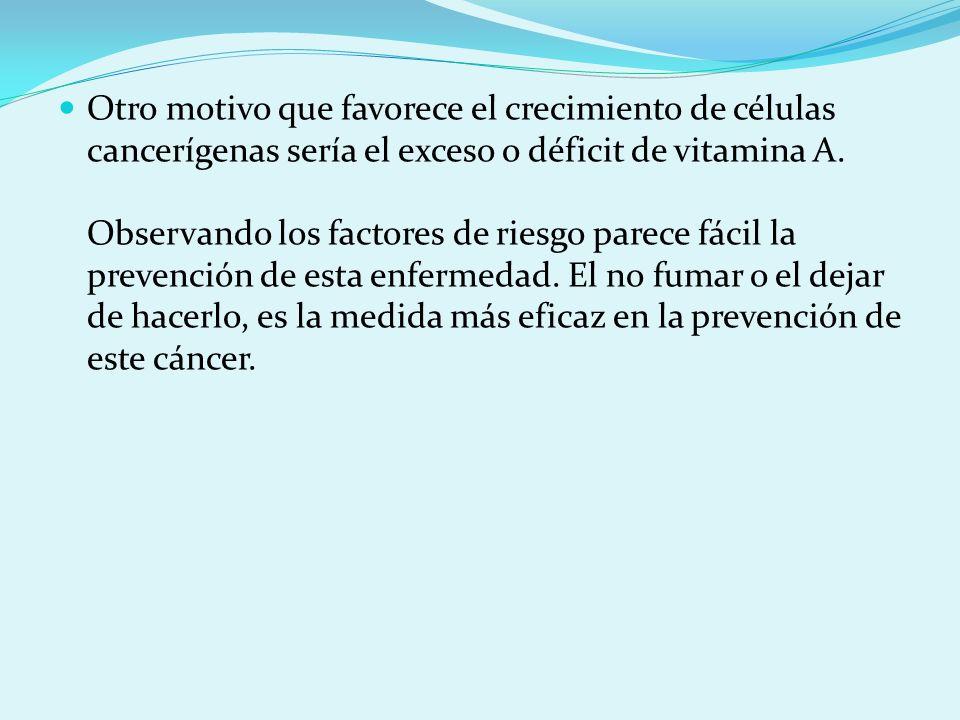 Otro motivo que favorece el crecimiento de células cancerígenas sería el exceso o déficit de vitamina A. Observando los factores de riesgo parece fáci