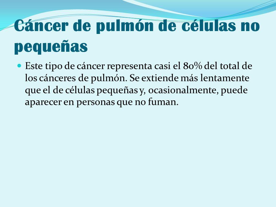 Cáncer de pulmón de células no pequeñas Este tipo de cáncer representa casi el 80% del total de los cánceres de pulmón. Se extiende más lentamente que