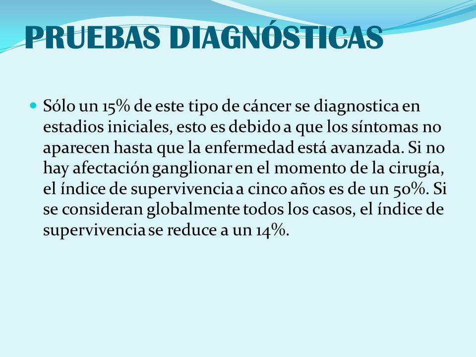 PRUEBAS DIAGNÓSTICAS Sólo un 15% de este tipo de cáncer se diagnostica en estadios iniciales, esto es debido a que los síntomas no aparecen hasta que