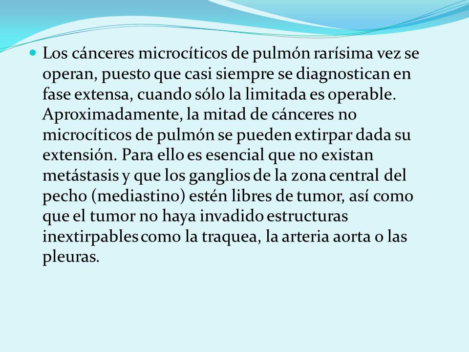 Los cánceres microcíticos de pulmón rarísima vez se operan, puesto que casi siempre se diagnostican en fase extensa, cuando sólo la limitada es operab