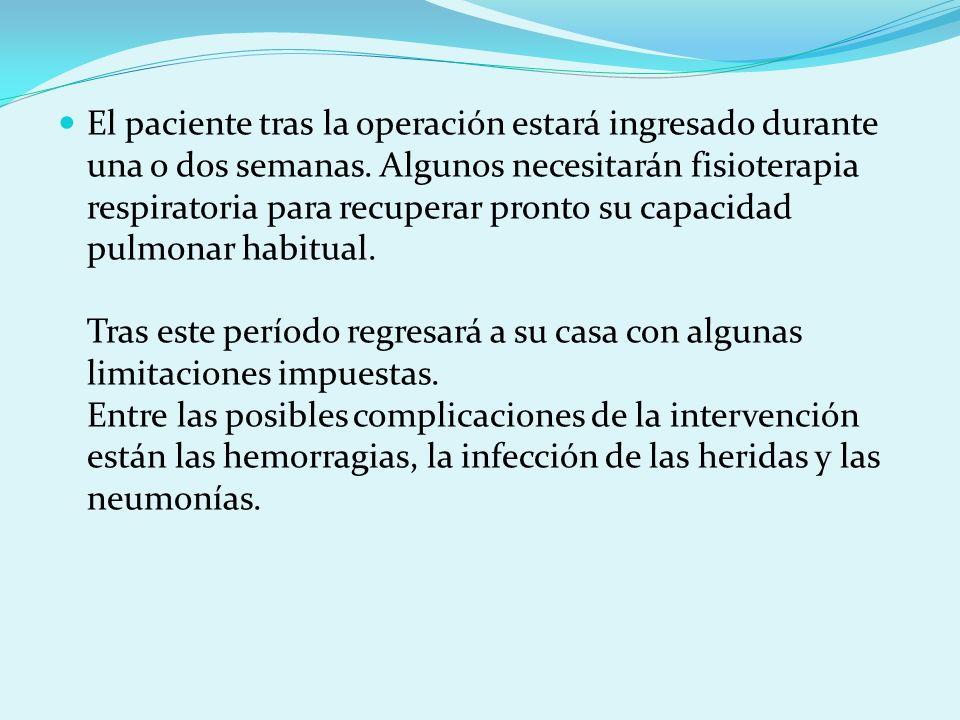 El paciente tras la operación estará ingresado durante una o dos semanas. Algunos necesitarán fisioterapia respiratoria para recuperar pronto su capac