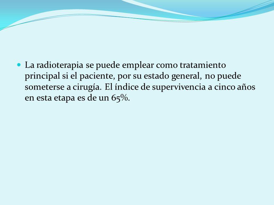 La radioterapia se puede emplear como tratamiento principal si el paciente, por su estado general, no puede someterse a cirugía. El índice de superviv