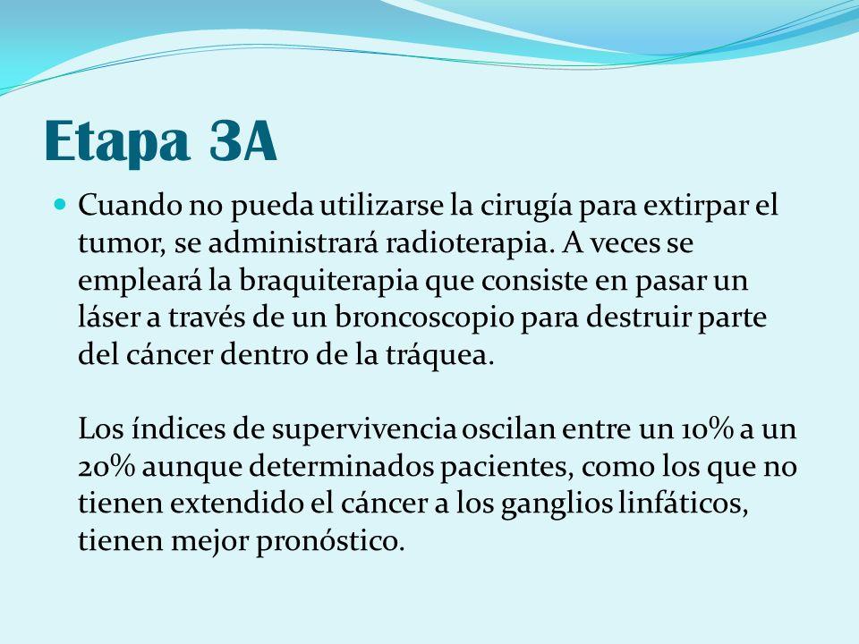 Etapa 3A Cuando no pueda utilizarse la cirugía para extirpar el tumor, se administrará radioterapia. A veces se empleará la braquiterapia que consiste