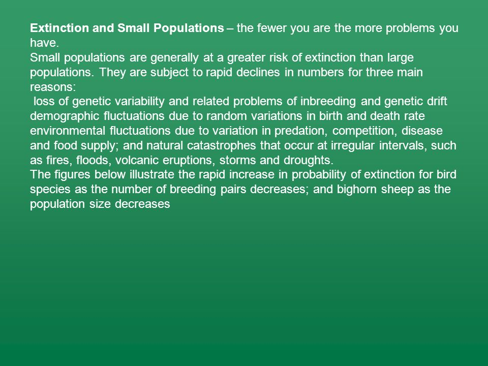 Extinction and Small Populations – the fewer you are the more problems you have. Small populations are generally at a greater risk of extinction than