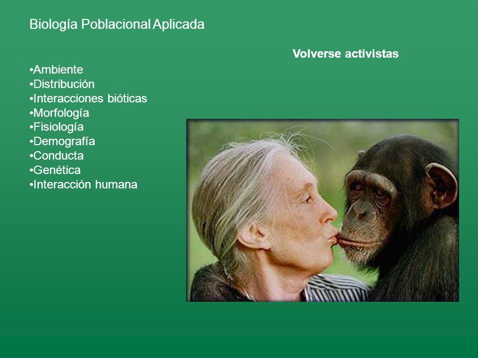 Biología Poblacional Aplicada Ambiente Distribución Interacciones bióticas Morfología Fisiología Demografía Conducta Genética Interacción humana Volverse activistas
