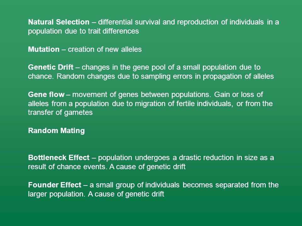Natural Selection – differential survival and reproduction of individuals in a population due to trait differences Mutation – creation of new alleles Genetic Drift – changes in the gene pool of a small population due to chance.