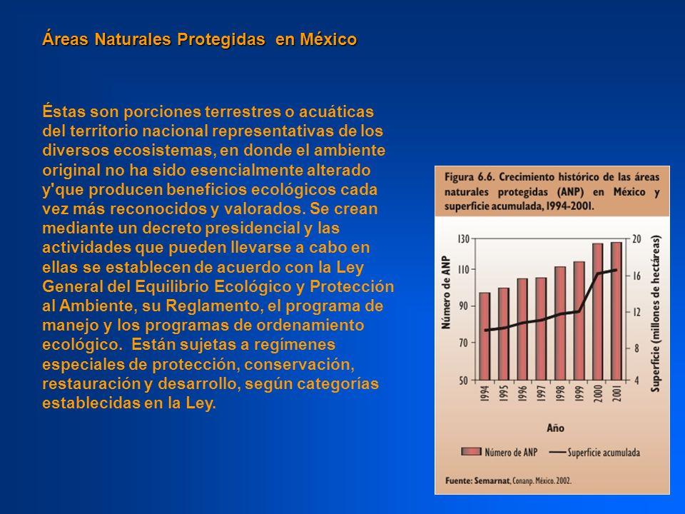 Áreas Naturales Protegidas en México NºCategoría Superficie en Hectáreas 38 Reservas de la Biosfera 11,846,462 68 Parques Nacionales1,505,643 4 Monumentos Naturales14,093 7 Áreas de Protección de Recursos Naturales 3,467,385 31 Áreas de Protección de Flora y Fauna 6,127,424 17 Santuarios689 1 Otras Categorías186,734 166 23,148,432
