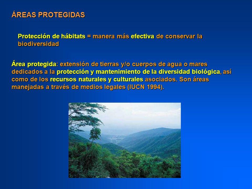 ÁREAS PROTEGIDAS Áreas protegidas legalmente, gobernadas por leyes y reglamentos que permitan diferentes grados de uso tradicional y/o comercial por la comunidad local, uso recreativo, investigación científica y preservación del hábitat.