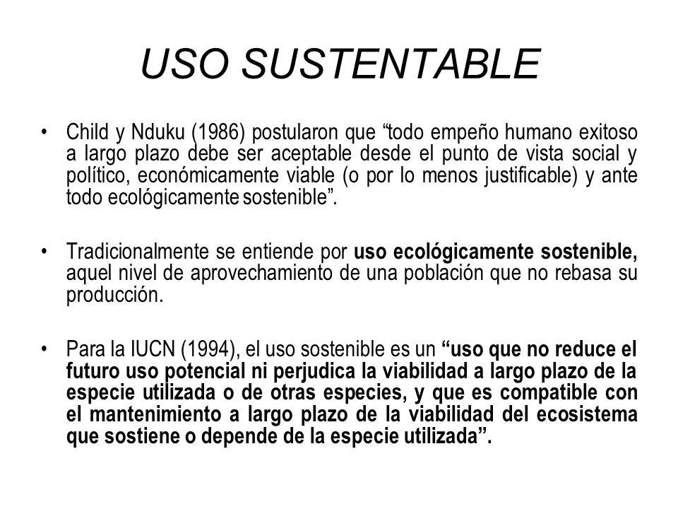 USO SUSTENTABLE Child y Nduku (1986) postularon que todo empeño humano exitoso a largo plazo debe ser aceptable desde el punto de vista social y polít