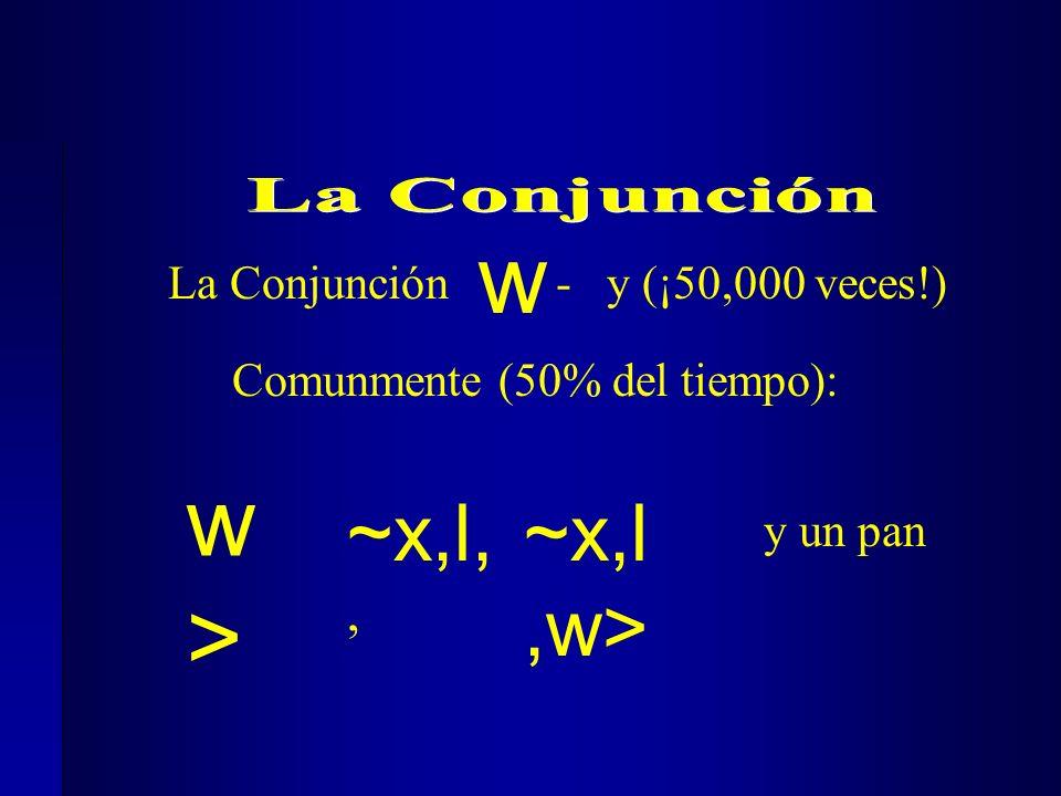 La Conjunción - y (¡50,000 veces!) Comunmente (50% del tiempo): ~x,l,, y un pan ~x,l,w> w w>w>