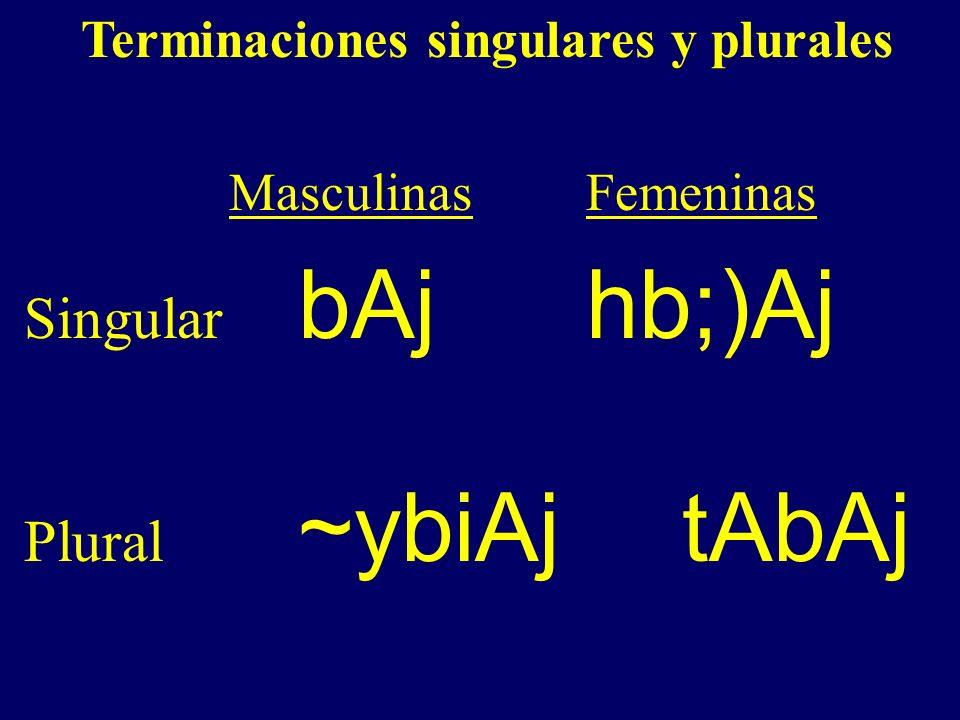 Terminaciones singulares y plurales Masculinas Femeninas Singular bAjhb;)Aj Plural ~ybiAjtAbAj