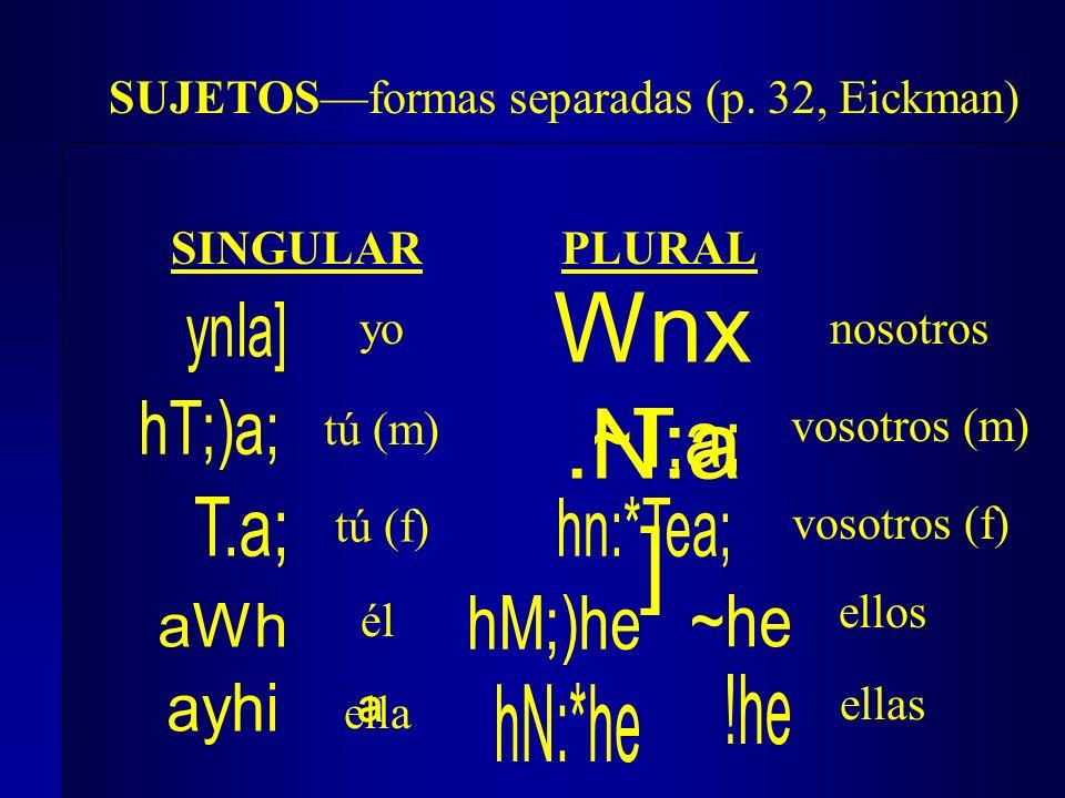 SUJETOSformas separadas (p. 32, Eickman) yo ª tú (m) él nosotros vosotros (m) ellos SINGULAR PLURAL Wnx.N:a ] vosotros (f) tú (f) ella ellas