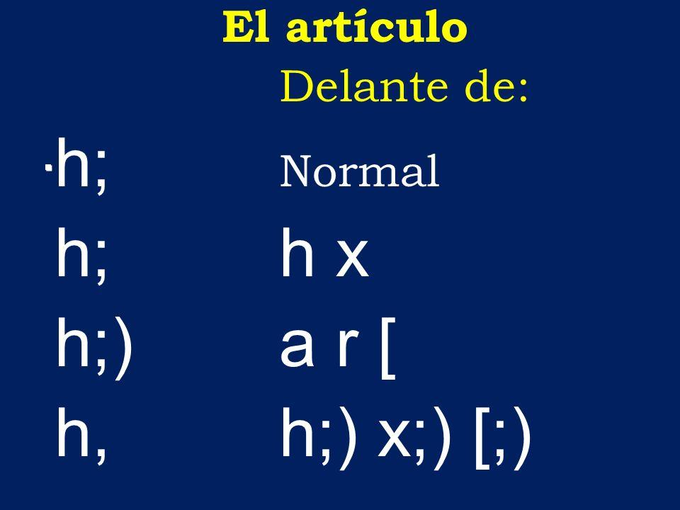 El artículo Delante de: h; Normal h;h x h;)a r [ h, h;) x;) [;)