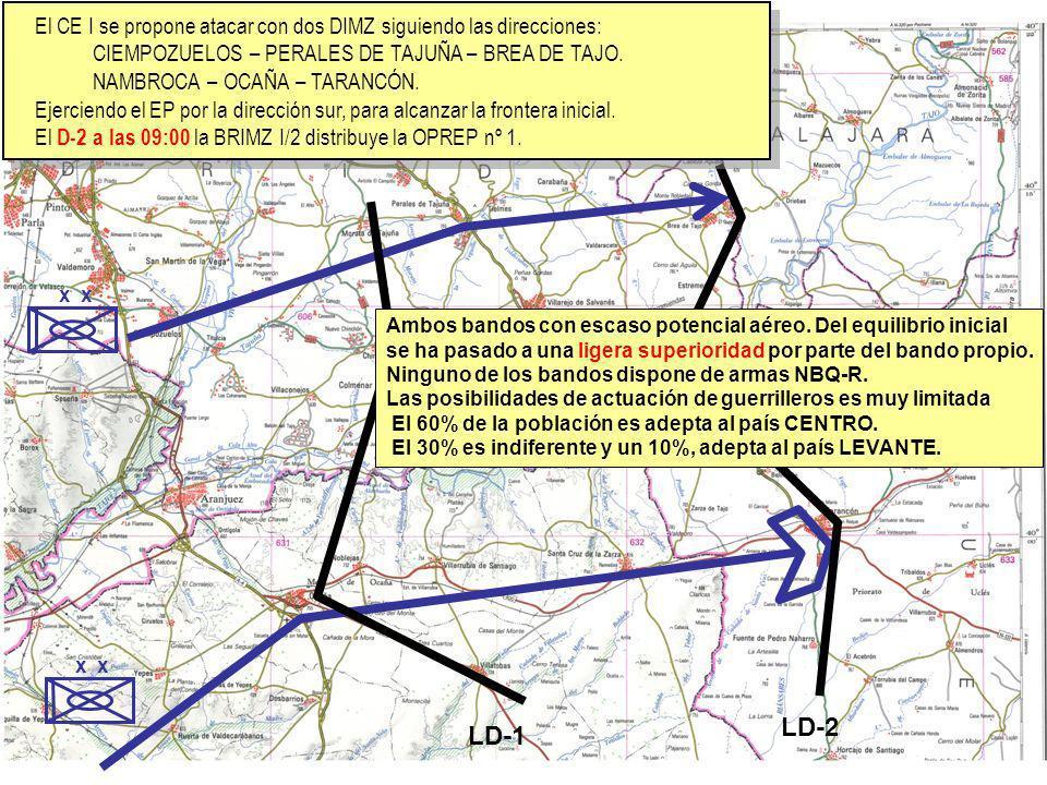 El CE I se propone atacar con dos DIMZ siguiendo las direcciones: CIEMPOZUELOS – PERALES DE TAJUÑA – BREA DE TAJO. NAMBROCA – OCAÑA – TARANCÓN. Ejerci