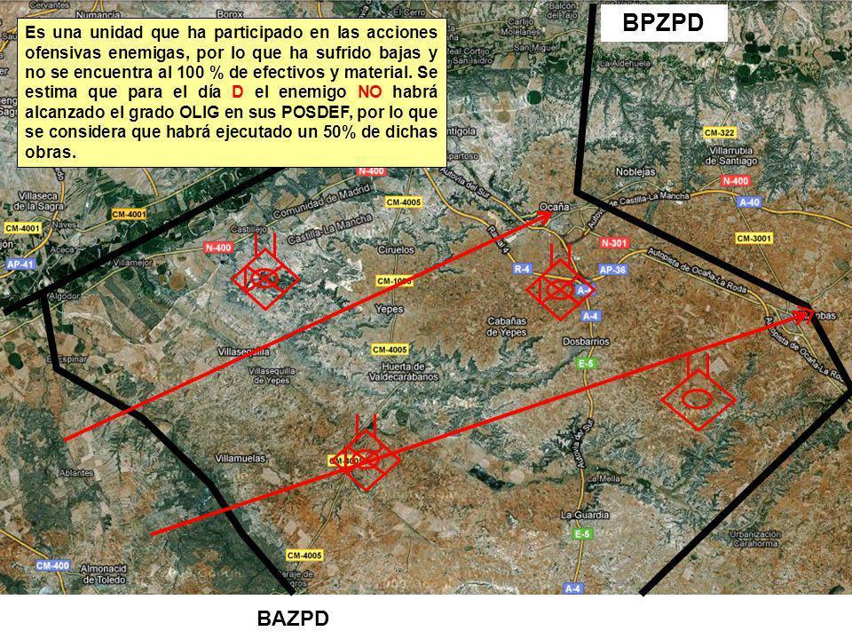 BAZPD BPZPD Es una unidad que ha participado en las acciones ofensivas enemigas, por lo que ha sufrido bajas y no se encuentra al 100 % de efectivos y