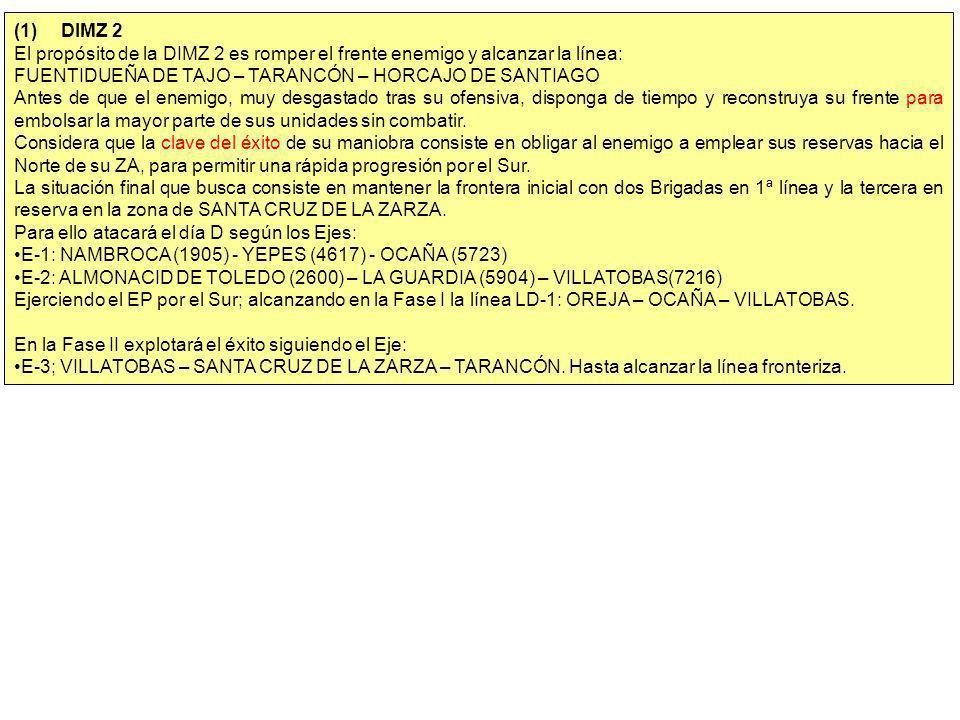 (1)DIMZ 2 El propósito de la DIMZ 2 es romper el frente enemigo y alcanzar la línea: FUENTIDUEÑA DE TAJO – TARANCÓN – HORCAJO DE SANTIAGO Antes de que