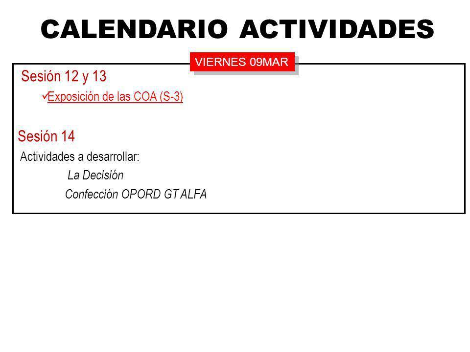 Sesión 12 y 13 Exposición de las COA (S-3) Sesión 14 Actividades a desarrollar: La Decisión Confección OPORD GT ALFA CALENDARIO ACTIVIDADES VIERNES 09