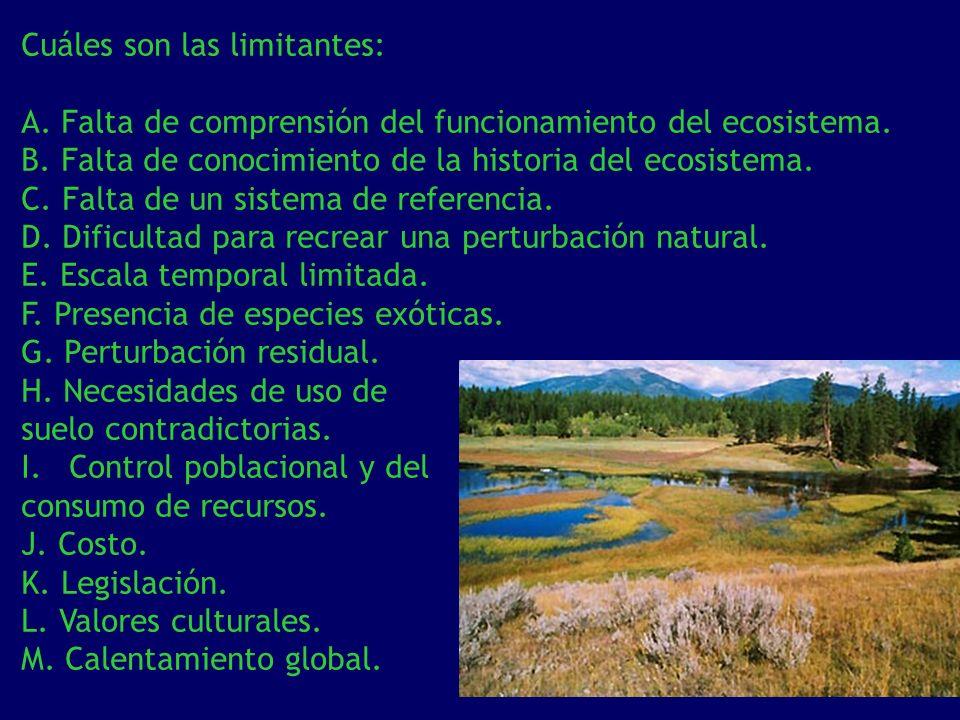 Cuáles son las limitantes: A. Falta de comprensión del funcionamiento del ecosistema. B. Falta de conocimiento de la historia del ecosistema. C. Falta