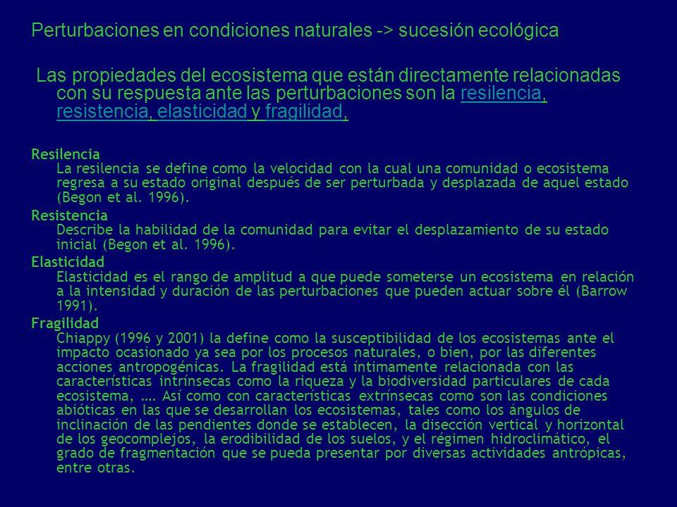 Perturbaciones en condiciones naturales -> sucesión ecológica Las propiedades del ecosistema que están directamente relacionadas con su respuesta ante