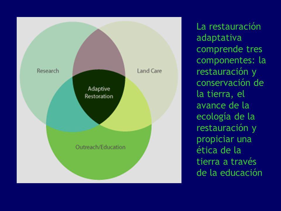 La restauración adaptativa comprende tres componentes: la restauración y conservación de la tierra, el avance de la ecología de la restauración y prop