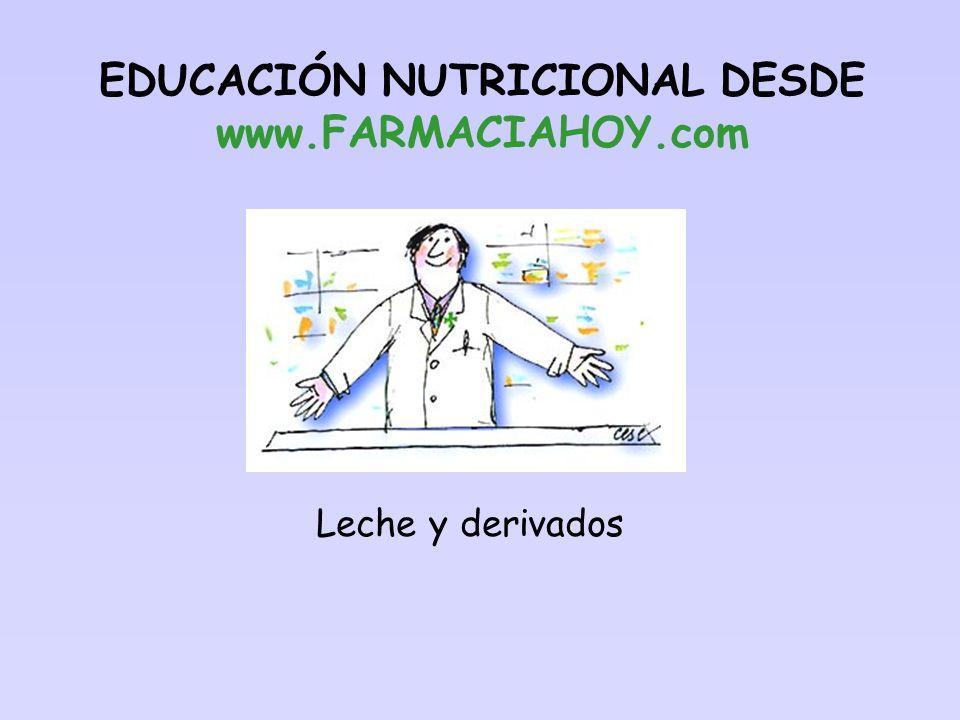 Leche y derivados EDUCACIÓN NUTRICIONAL DESDE www.FARMACIAHOY.com