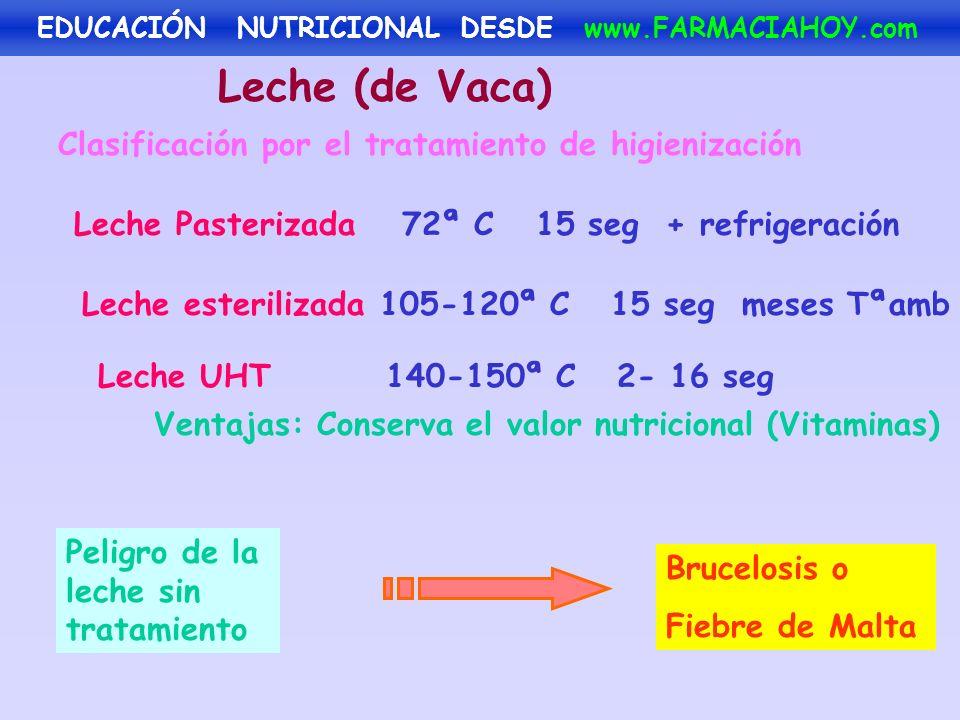 Leche (de Vaca) Clasificación por el tratamiento de higienización Leche Pasterizada Ventajas: Conserva el valor nutricional (Vitaminas) Leche esterili