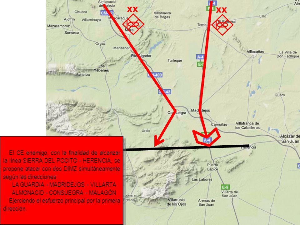El CE enemigo, con la finalidad de alcanzar la línea SIERRA DEL POCITO - HERENCIA, se propone atacar con dos DIMZ simultáneamente según las direccione
