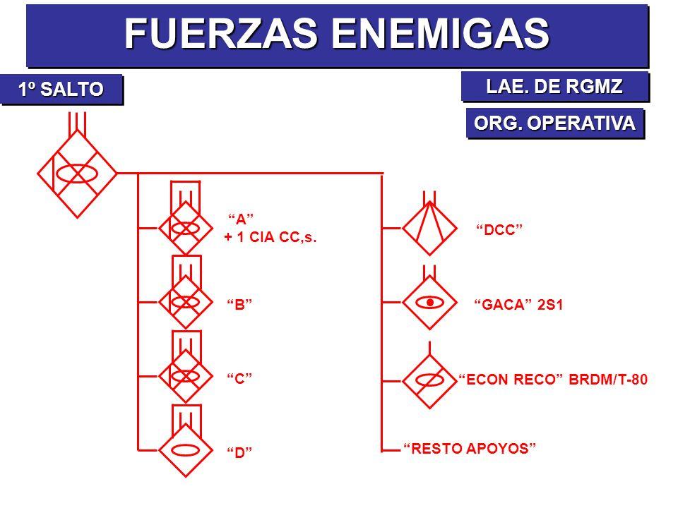 FUERZAS ENEMIGAS ORG. OPERATIVA 1º SALTO A + 1 CIA CC,s. B C D DCC GACA 2S1 ECON RECO BRDM/T-80 RESTO APOYOS LAE. DE RGMZ